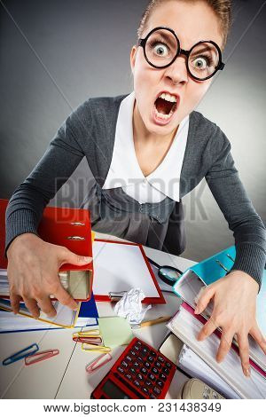 Job Work Emotions Frustration Communication Concept. Angered Office Lady Making Gesture. Upset Secre