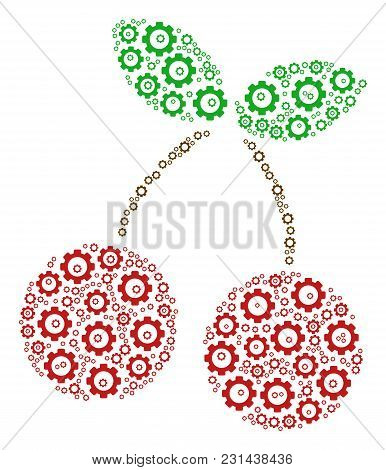 Cherry Composition Of Gear Wheels. Vector Cog Wheel Objects Are United Into Cherry Illustration.