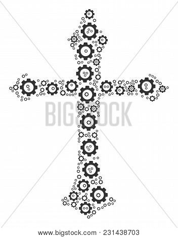 Christian Cross Mosaic Of Vector Gears. Vector Gearwheel Objects Are Grouped Into Christian Cross Sh