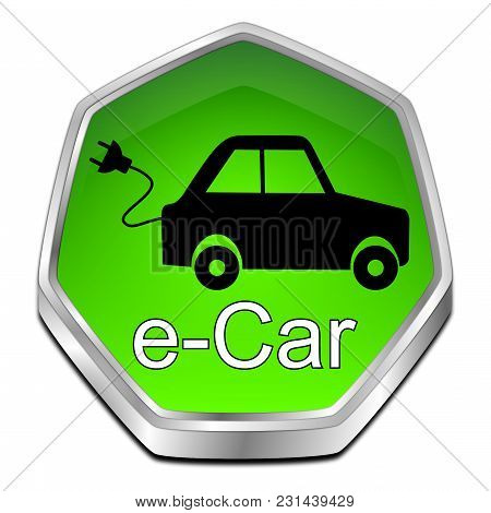 Glossy Green E-car Button - 3d Illustration