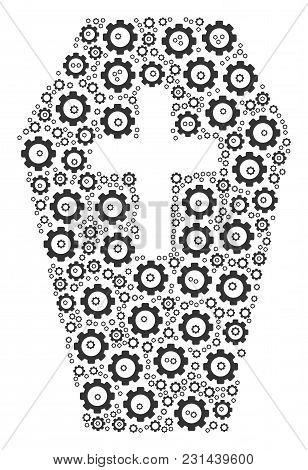Coffin Composition Of Gear Components. Vector Cog Wheel Components Are United Into Coffin Compositio