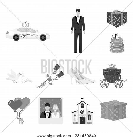 Wedding And Attributes Monochrome Icons In Set Collection For Design. Newlyweds And Accessories Vect
