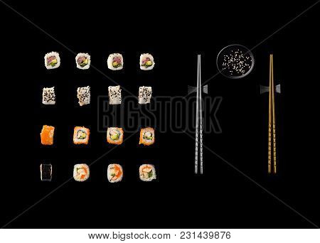Set Of Japanese Sushi Isolated On White Backgound. Top View