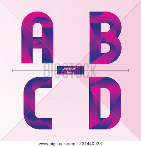 Vector Graphic Alphabet In A Set A,b.c,d, With Purple Color Geometric Style