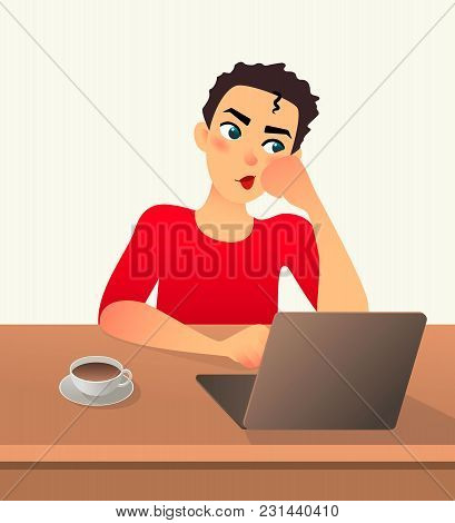 Girl Freelancer Bored. Young Woman Works At Home Sitting In Front Of A Laptop. Cartoon Flat Girl Wor