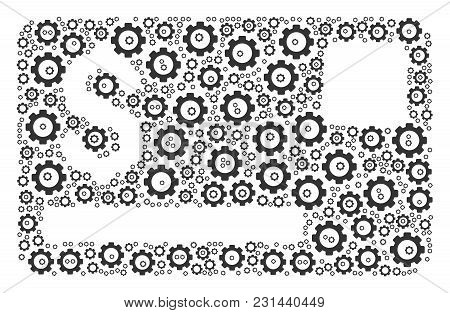 Credit Card Collage Of Gear Wheels. Vector Cog Wheel Objects Are Grouped Into Credit Card Pattern.