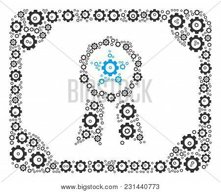 Diploma Collage Of Gears. Vector Cog Wheel Pictograms Are United Into Diploma Shape.