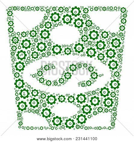 Dollar Banknote Collage Of Cogwheels. Vector Cog Icons Are Composed Into Dollar Banknote Composition