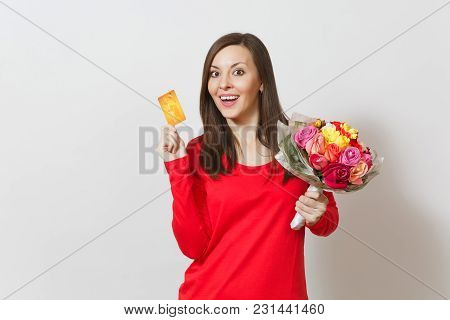 Young Beautiful Smiling Woman Holding Bouquet Of Beautiful Roses Flowers Credit Card Isolated On Whi