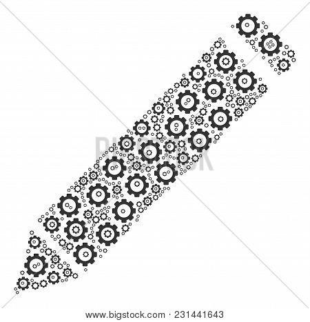 Edit Pencil Collage Of Gear Components. Vector Cog Objects Are Composed Into Edit Pencil Collage.