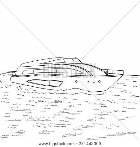 Yacht Style Vector Illustration. Object Coloring Book Imitation