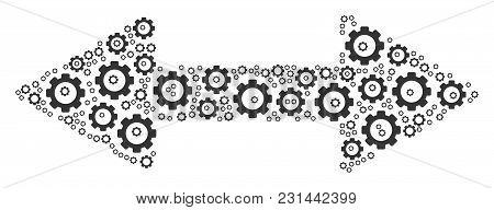 Exchange Arrows Mosaic Of Vector Gears. Vector Gear Icons Are Organized Into Exchange Arrows Composi