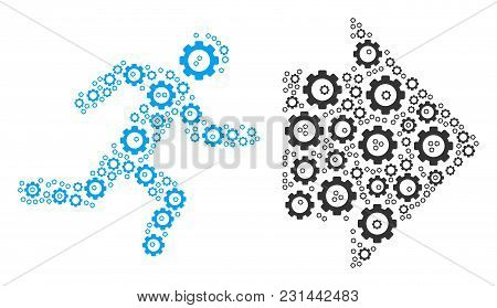 Exit Direction Mosaic Of Gear Wheels. Vector Gear Wheel Items Are United Into Exit Direction Figure.