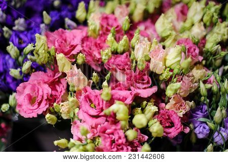 Macrophotography Of A Bouquet Consisting Of Tender Pink Flowers With Unopened Buds In A Flower Shop