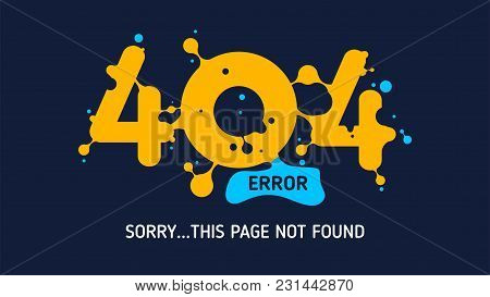 404 Flat Vector Liquid Error Or Page Not Found Design Graphic Template Website With White Background