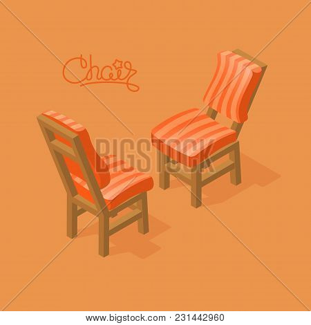 Set Of Isometric Cartoon Chair Isolated On Orange.two Chairs With Striped Upholstery. Front And Back
