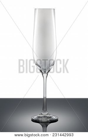 Empty Champagne Glass Isolated On A White Background