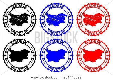 Made In Bulgaria - Rubber Stamp - Vector, Bulgaria Map Pattern - Black,blue And Red