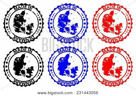 Made In Denmark - Rubber Stamp - Vector, Denmark Map Pattern - Black,blue And Red