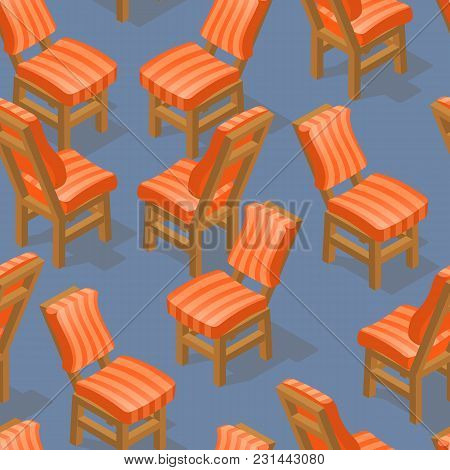 Seamless Pattern Of Isometric Cartoon Chair Isolated On Blue. Chairs With Striped Upholstery. Front
