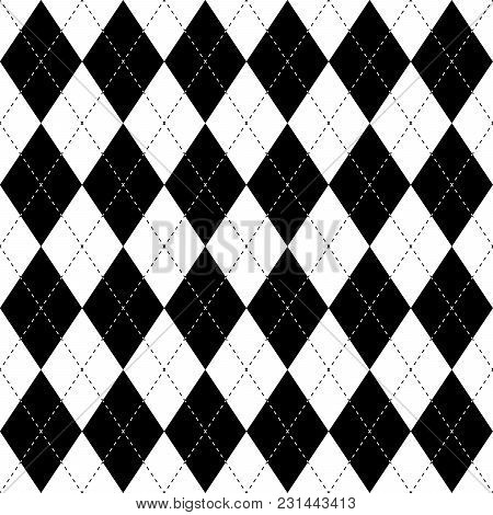 Black And White Argyle Seamless Pattern Background. Diamond Shapes With Dashed Lines. Simple Flat Ve