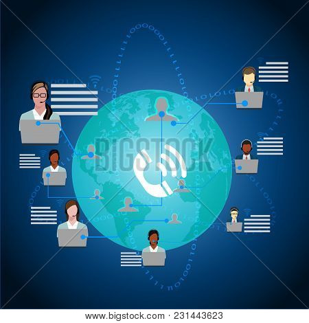 Call Center Operators Team, Man Woman Customer Support People Group Chat Bubble Internet Communicati