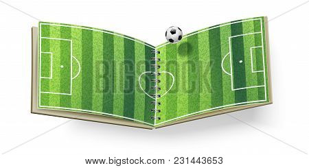 Open Soccer Field Isolated On White. Vector Illustration