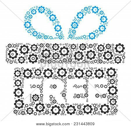 Free Gift Composition Of Cog Wheels. Vector Gear Components Are Combined Into Free Gift Collage.