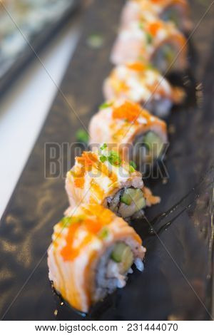 Grilled Salmon Sushi Roll - Japanese Traditional Food