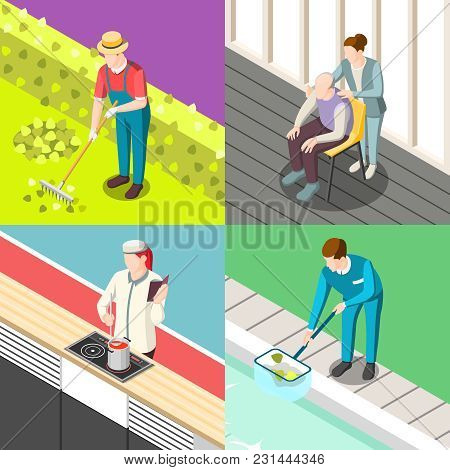 Domestic Servant Isometric Design Concept With Gardener, Personal Chef, Pool Cleaner, Nurse Isolated