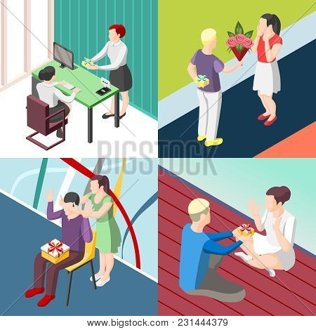 People With Gifts In Office, During Romantic Meeting, Birthday, Valentine Day Isometric Design Conce