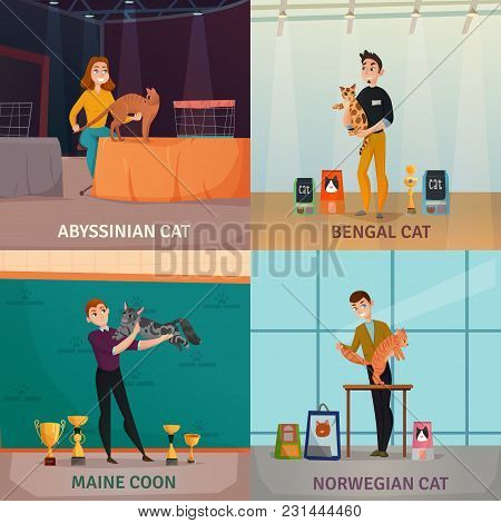 Cat Show 4 Cartoon Icons Concept With Owners Presenting Bengal Norwegian And Abyssinian Breeds Isola