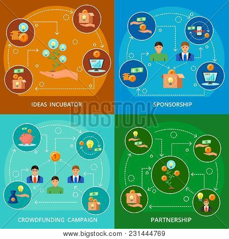 Crowdfunding Concept 4 Flat Icons Compositions With Ideas Incubation Sponsorship Partnership And Cro