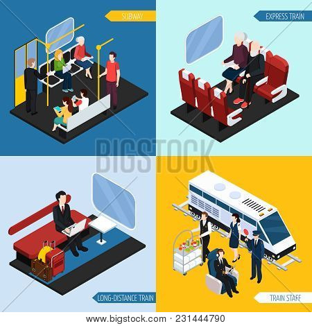Train Interior With Passengers For Long Distance Travel, Express Journey, Subway, Isometric Design C