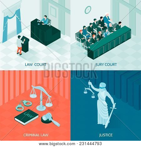Symbols Of Law And Justice And Jury Court Isometric 2x2 Design Concept On Colorful Background 3d Vec