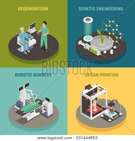 Future Medical Technologies Concept 4 Isometric Icons Square With Organs Printing Regeneration Robot