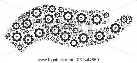 Hand Collage Of Cog Wheels. Vector Cog Objects Are Combined Into Hand Figure.