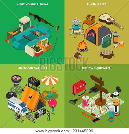 Hiking Concept Icons Set With Hiking Life Symbols Isometric Isolated Vector Illustration