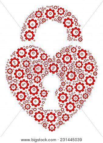 Heart Lock Composition Of Gearwheels. Vector Gearwheel Items Are United Into Heart Lock Figure.