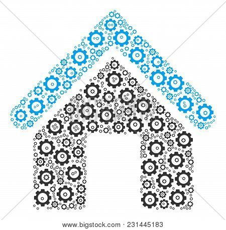 Home Mosaic Of Gearwheels. Vector Cogwheel Parts Are United Into Home Pattern.