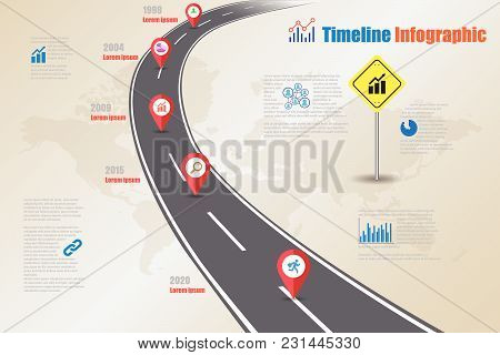 Business Road Signs Map Timeline Infographic Designed For Abstract Background Template Milestone Ele