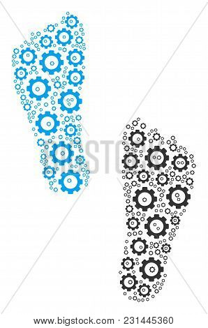 Human Footprints Collage Of Gear Wheels. Vector Tooth Gear Items Are Composed Into Human Footprints