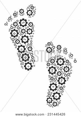 Human Steps Collage Of Cog Wheels. Vector Gear Elements Are United Into Human Steps Pattern.