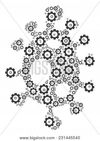Infection Cell Mosaic Of Tooth Gears. Vector Gearwheel Objects Are United Into Infection Cell Collag