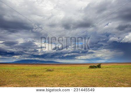 Thunderstorm Over Manyara Lake In Tanzania, Africa