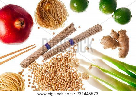 Food Ingredients Of Asian Cuisine. Isolated On White