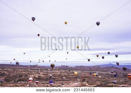 Goreme, Cappadocia / Turkey - October 25, 2015: Panoramic View Of Cappadocia. Cappadocia Is Known Ar
