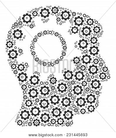 Intellect Gear Mosaic Of Gear Elements. Vector Cog Wheel Parts Are United Into Intellect Gear Compos