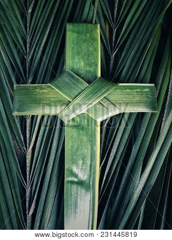 Palm Sunday Concept With Background Of Palm Cross And Palm Leaves. With Blurred Vintage Styled Backg