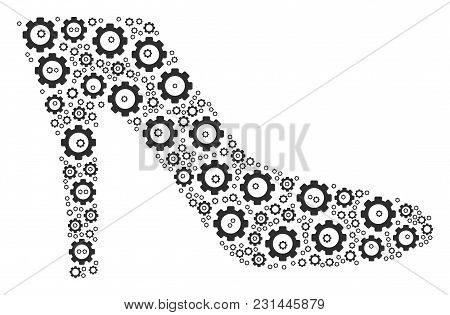 Lady Shoe Collage Of Gear Wheels. Vector Gearwheel Elements Are Organized Into Lady Shoe Composition